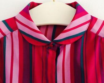 Vintage blouse| 70s blouse| peter pan collar blouse| size M/L|