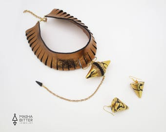 leather choker - statement necklace - clothing gift - new years eve - unique gift for her -  tribal necklace - golden earrings