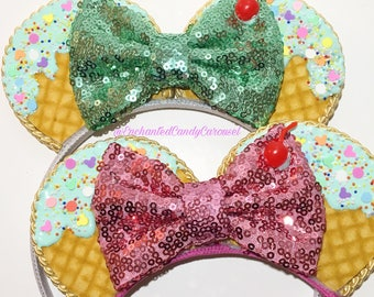 Main Street Miss- Ice Cream Mouse Ears Fascinator Headband
