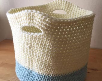 Crochet Basket - Blue and Cream
