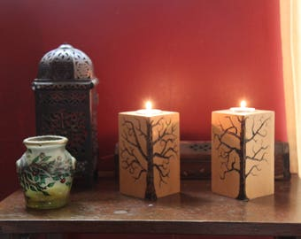 Wood candle holders -  burned tree candle holders - great gift idea