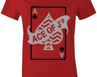 f0da16879644 Ace Of Js - JuniorsWomen T-Shirt to Match Jordan 5 Red Suede