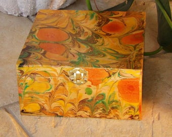 Memory box, marbled wooden keepsake box, hand decorated wood box, brown, orange, green and yellow