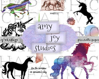 Unicorn ClipArt   Digital Collage Sheet   Clip Art PNG JPEG Commercial Use - 12 pieces of Unicorn &  Rainbow clip art pieces