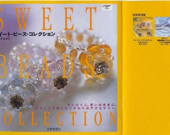 "OVER 30 BEADS JEWERLY Pattern-""Sweet Beads Collection""-Japanese Craft E-Book #200.Instant Download Pdf file.Beads ring,bracelet,necklace."