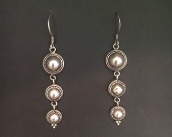 Triple Dome Dangly Sterling Silver Earrings