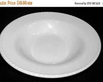 """ON SALE Pier 1 One BIANCA Lot of 4 Rim Soup Bowls All White Embossed Rope Edge 8 7/8"""" Excellent Condition"""