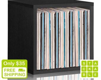 Vinyl Record Storage Cube - Stackable LP Record Album Storage Shelf Black - Fits 70 records - Lifetime Guarantee - FREE SHIP (bs-scube-bk)