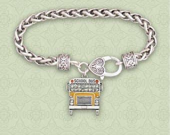 School Bus Rhinestone Charm Bracelet