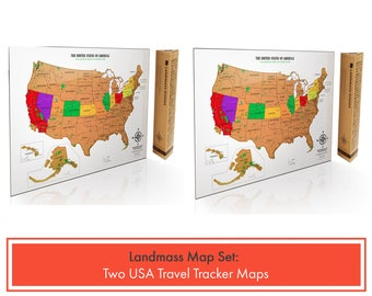 2 Scratch off USA Travel Tracker Maps with National Parks - Perfect Gift Set for Travelers - Scratch off where you've been - Two Pack