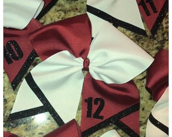 Tic Tok Bow with Tail Accents and Number