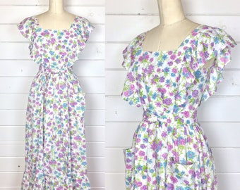 Vintage 1970s Wildflower Ruffled Maxi Dress / Prarie Dress / Matching Sash / Hippie Dress / Handmade
