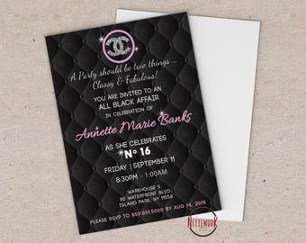 Chanel Theme Invitation    Printed or DIY Printable File