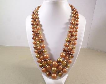 HONG KONG! Beautiful Vintage Gold Tone Triple Strand Graduated Acrylic Beaded Necklace Signed Hong Kong  DL#3568