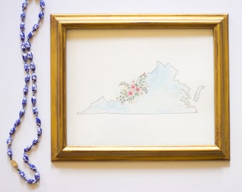 Virginia State Watercolor and Calligraphy Floral Art