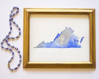 Virginia State Blue and Silver ODU Watercolor Art