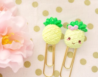 Sweet and Happy Kawaii Pineapple - Handmade Polymer Clay Charm / Planner Clip / Planner Accessories
