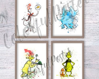 Dr Seuss watercolor poster Set of 4 Dr Seuss art print Dr Seuss wall decor Playroom wall decoration Kids room wall art Baby shower gift V478