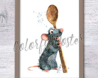 Ratatouille poster Ratatouille watercolor print Ratatouille wall decor Pixar movie poster Kids room wall art Playroom wall decoration V508