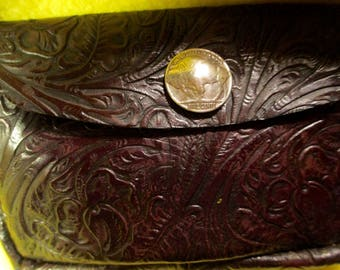 Leather Belt Bag with Western Motif and Buffalo Nickel Snap.
