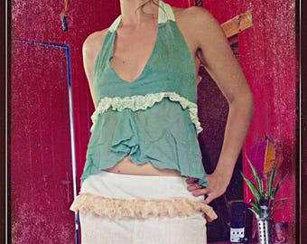 Fairy top, backless, linen and lace