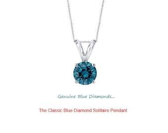 0.50 Carat Genuine Blue Diamond Solitaire Pendant in 14K Gold