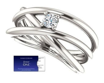 Designer Style 3mm DEF (Colorless) Forever One Moissanite Ring  (with Charles & Colvard Warranty)