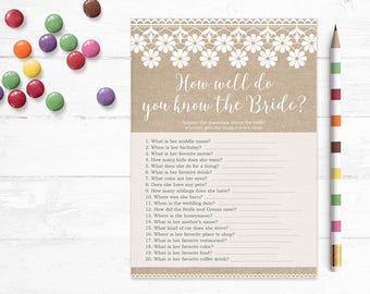 Printable Bridal Shower Game, How Well Do You Know the Bride, Bride Trivia, Couples Shower, Wedding Shower, Burlap & Lace, Digital, MB194