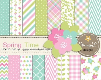 50% OFF Spring Digital Papers and Flower Clipart, Tulip Blossom, Mother's Day, Girl Digital Scrapbooking Paper, Springtime, Green, Turquoise