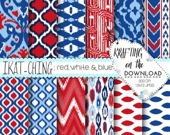 red white and blue digital paper pack ikat design red blue navy scrapbooking papers patriotic paper pack 4th of july digital paper