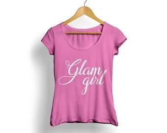 Glam Girl Tee, Pink Fashion tee, Pink Graphic tee, Cute pink Tshirt, Pink Tshirt, Girls Pink Tshirt, Cute Pink shirt, Glam Girl shirt