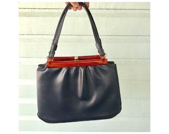 Garay Navy Handbag with Lucite Trim