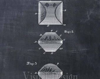 Charcoal Briquette Patent Print From 1897 - Art Print - Patent Poster - Kitchen Art - Kitchen Decor - BBQ Grill - Barbeque Art