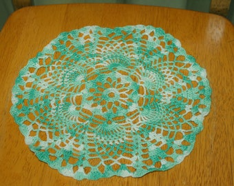 "Hand Crafted DOILY - 10"" Shades of Green and White Hand Crocheted Doily"