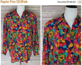 ON SALE 20% OFF Vintage 1980's Floral Blouse | 1980's long sleeve blouse | 80s floral blouse | 1980s floral top | Hana Sung