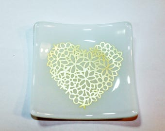 """Silver Heart Glass Plate, White Opal Glass & Silver Foil, 4.5"""" x 4.5"""" fused glass plate, dessert dish, appetizer dish, trinket dish"""