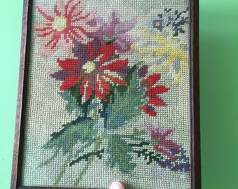 Tapestry Needlepoint Framed Picture Rose Flower Bunch Motif Pastel Colours 1950s Home Decor. Floral Picture.