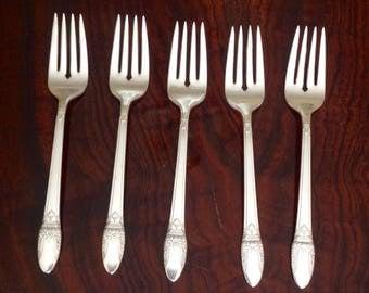 First Love Pattern Salad/Dessert Forks...Set of 5