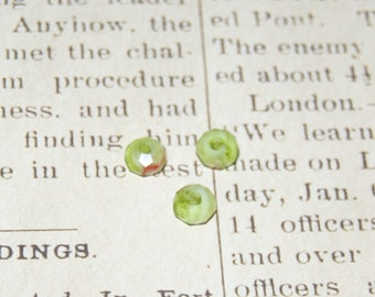 6 green-brown faceted 6x4mm Crystal beads