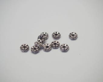 10 mini serrated silver 6mm rondelle beads