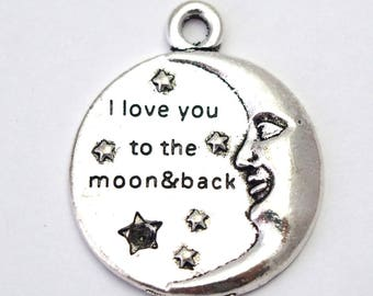 Great charm Moon and star silver-plated 28x22mm love message