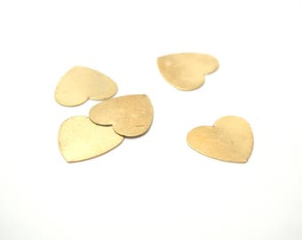 5 prints heart brass 13mm