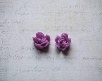 2 Purple 12x6mm resin flower cabochons