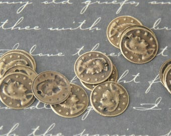 20 charms / round medallions to the soldier bronze 10mm