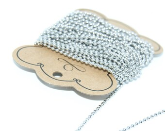 Steel ball chain stainless 2.5 mm - 1 m