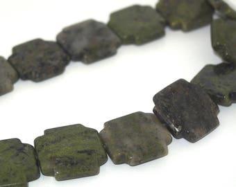 2 cross 20mm Green Jasper beads
