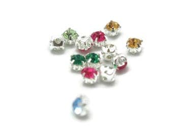 10 rhinestone chatons multicolor 5x5mm