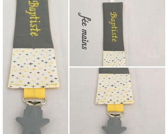 Pacifier clip personalized gray and white cotton fabric with embroidery name stars
