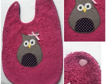 Pink organic baby girl in Terry bib with a matching OWL