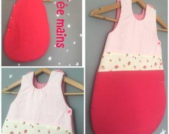 Sleeping bag 0-6 months cotton pink blush, pink & white Strawberry print